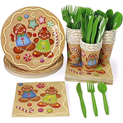 Holiday Dinnerware Set, Paper Plates, Plastic Cutlery, Cups, and Napkins (Serves 24, 144 Pieces)