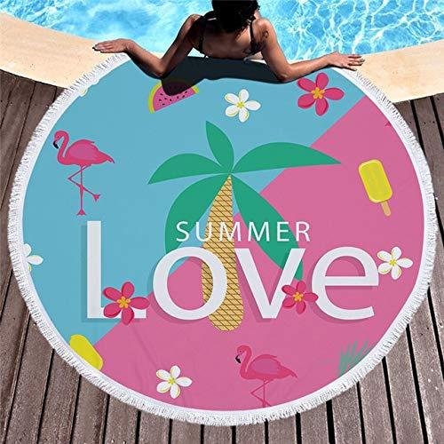 Toalla de Playa Toalla de Playa Redonda con Borla 150 cm Natación Toalla de baño Bikini Cubierta Upazo Alfombra (Color : 2)