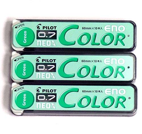 Pilot Color Mechanical Pencil Lead Eno, 0.7mm, Green, 10 Lead ×3 Pack/total 30 Leads (Japan Import) [Komainu-Dou Original Package]