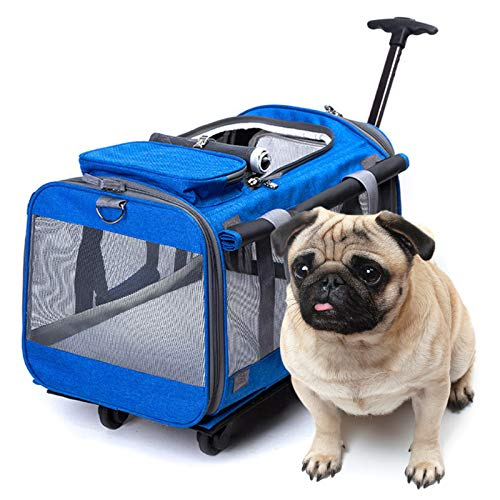 Multifunctional Pet Bag, Large Space and Breathable Trolley Cage for Cats and Dogs, Foldable and Convenient for Storage with Wheels, Suitable for Indoor and Outdoor Use (Color : B)
