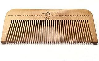 Badass Beard Care Wood Beard Comb for Men - Fine Tooth, Anti-Static