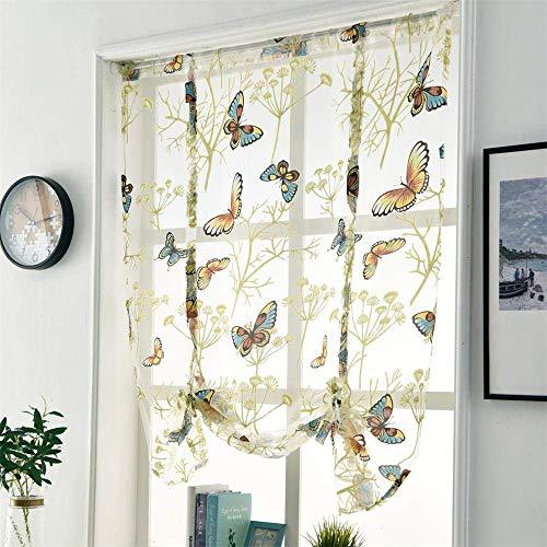 CULASIGN Raffrollo Stickerei Blumen Voile Schmetterling Transparent Gardine Vorhang Schlaufenschal Deko für Wohnzimmer Schlafzimmer Studierzimmer 1PC (140 * 140cm)