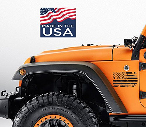2 US Flag Vinyl side Decals Fit all,Trucks,cars, Jeep Wrangler, Renegade American USA