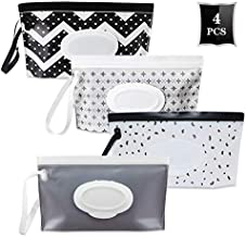 Reusable Wet Wipe Pouch Bags Set Wipes Holder Container Travel Dispenser Cases (4 Pack)