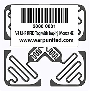 20-Pack V4 UHF RFID Tag with Pre-Written Hexadecimal Unique Serial Number and Barcode Impinj Monza 4E 624 bit Memory Wet Inlay on PVC