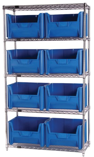 "Quantum Storage Systems WR5-700IV 5-Tier Complete Wire Shelving System with 8 QGH700 Giant Stack Bins, Chrome Finish, 18"" Width x 42"" Length x 74"" Height"