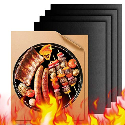 Grill Mat - 6 Set of Non Stick BBQ Grill Mats - PTFE Teflon Baking Sheets - Heavy Duty,Reusable and Dishwasher Safe - Easy Clean & Easy Use on Gas, Charcoal, Electric Grill