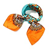 QBSM Womens Orange Square Satin Silk Neck Head Hair Scarf Wraps for Sleeping,Hijab Bandana for Black Women Gold Chain Valentine's Day Gifts for Women