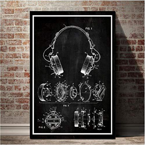 Jwqing poster canvas schilderij wandkunst print koptelefoon patent ontwerp tekening HD-afbeeldingen voor werkkamer Home Decor (50x70cm zonder lijst)