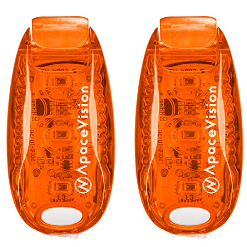 EverLightFX USB Rechargeable LED Safety Light (2 Pack) by Apace - Super Bright Bike Tail Light Works Brilliantly as Running Light for Joggers, Pets, Bicycle Strobe or Rear Clip On Lights (Orange)