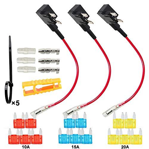 FULARR 3Pcs Premium ACS Add-A-Circuit Portafusibile Kit, Mini Lama Fusibile Tap Adattatore, con Gratuito Mini Lama Fusibili X 15Pcs, Fusibili Estrattore X 1Pcs, Fascette X 5Pcs –– 12V / 24V