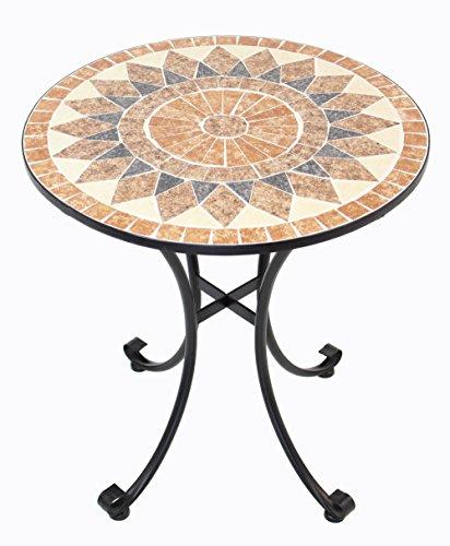 FRANK FLECHTWAREN Hochwertiger, massiver Metall-Tisch Mosaik
