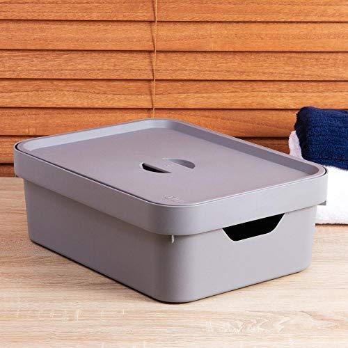 Caixa Organizadora Cube M com Tampa, Ou, Chumbo