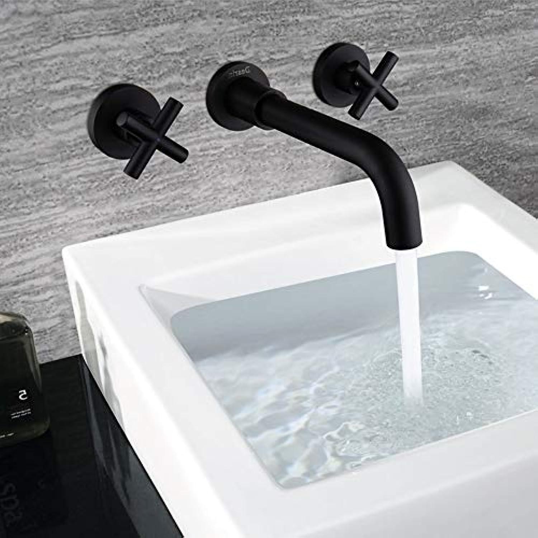 Waschtischarmatur Wand Waschbecken Becken Mischbatterie Set Bad Auslauf Wasserhahn Mit Doppelhebel In Matt Schwarz Bad Wasserhahn