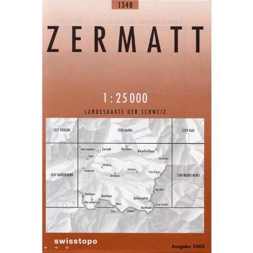 1348 Zermatt, Topographische Karte Schweiz 1:25.000, Landeskarte, Wanderkarte ohne rot-markierte Wanderwege, TK TOP 25 CH, Wallis, Swisstopo