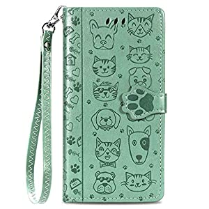 iEugen Compatible with iPhone 12 Pro Max Wallet Case,3 Credit Card Slot ID Card Holder,PU Leather Flip Case with Kickstand,Magnetic Closure,Embossed Animal Pet Cats & Dogs Pattern Cover-Teal