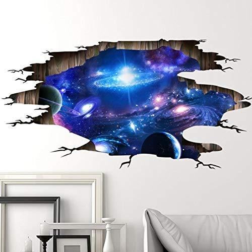 Wandaufkleber,3D-effekt Aufkleber, Wohnzimmer 3D Stereoscopic Dekoration Boden Decke das Universum Milchstraße-Muster-Wand-Aufkleber, Tapete Dekoration optische