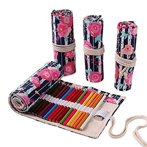 Haodou. 24/12/36/48/72 LöCher Leinwand Stifterolle Verpackungshalter Bleistift Wrap GroßE Kosmetiktasche FüR KüNstler, Die Das SchulbüRo Malen (Rote Rose)