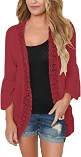 PRETTODAY Women's Ruffle Bell Sleeve Kimono Cardigans Lace Cover up Loose Blouse Tops