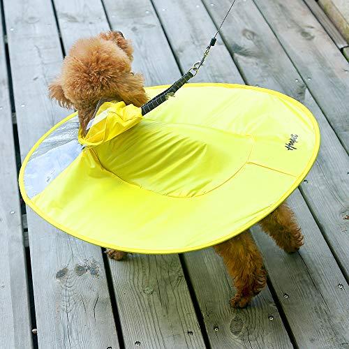 Pet hond paraplu paraplu Teddy Bichon Pommeren puppy corgi klein hondenartikelen hond regenjas poncho paraplu UFO buste 64-72cm gele regenjas XXL-
