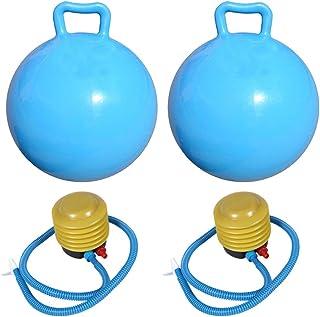 YeahiBaby 2 Piezas Pelota de Saltar Inflables Bola con Mango para Niños (Azul Cielo)