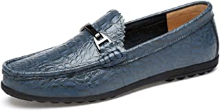 QinMei Zhou Men's Driving Loafer Moccasin Slip on Oxfords Crocodile Pattern Microfiber Leather Classic Fashion Buckle Boat Shoes (Color : Blue, Size : 6 UK)