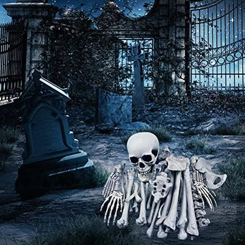 YAQI - Scheletro, ossa, scheletro e teschio, per la migliore decorazione di Halloween, 28 pezzi, ossa, in plastica, per Halloween