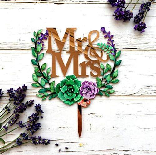 Soode Rose Goud, Goud Spiegel Acryl 'Mr & Mrs' Bloemenkrans Taart Topper Bruiloft Decoraties