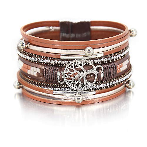 FANCY SHINY Tree of Life Leather Wrap Bracelet Inspirational Cuff Bangles Boho Pearl Bracelets with Magnetic Clasp Unique Jewelry Gifts for Women Teen Girls(Bead)