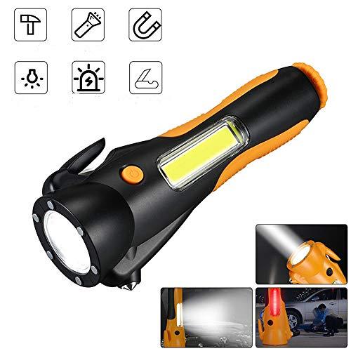 VISLONE Multifunción COB LED Linterna Seguridad Linterna de Emergencia Super Brillante para Acampar Senderismo Mochilero Pesca (Negro)