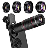 Phone Camera Lens Kit, Mikikin 5 in 1 Cell Phone Lens - 20X Telephoto Zoom Lens, 20X Macro Lens, 198° Fisheye Lens, 0.62X Wide Angle Lens & 2X Zoom Lens for iPhone XS Max/XS/XR/X/8/7/6/5S Plus Samsung