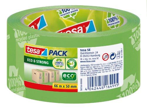 tesapack Eco und Strong - Umweltschonendes Paketband aus 100 Prozent recyceltem Kunststoff, UV- und alterungsbeständig - Grün bedruckt - 66 m x 50 mm
