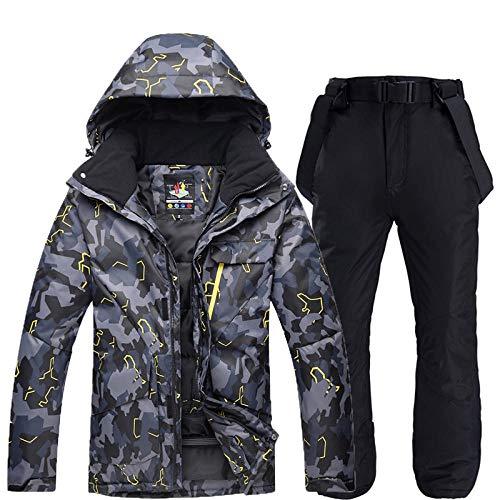 RXQCAOXIA Ski- en broekset voor heren, thermo pak, winter winddicht, waterdicht, snowboard, verdikt katoen, gevoerde skikleding met afneembare capuchon