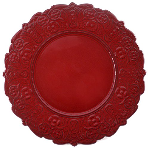 Faïencerie de Niderviller Grand Siècle Assiette de présentation de Noël Rouge 32 cm
