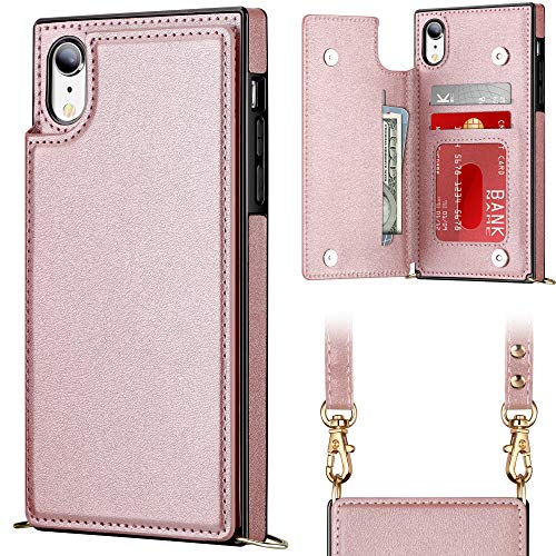 Vofolen for iPhone XR Case Card Holder Lanyard Neck Crossbody Detachable Strap Protective ID Slot Pocket Square Flip Women Girls Cover Soft PU Leather Double Magnetic Clasp for iPhone XR 10R Rose Gold