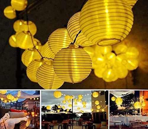 Lichterkette LED Weiß Lampions 5M 20 Stück Weihnachtsbeleuchtung mit Rund Lampenschirm,Wasserfest Weihnachten Dekoration für Garten,Terrasse, Hof,Haus,Weihnachtsbaum,Halloween,Party