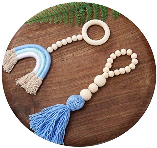 Clife 2 Pcs Wood Bead Garland with Tassel, Farmhouse Rustic Natural Wooden Bead String Wall Hanging , Baby Nursery Room Decor, Wedding Vase Ornament Shower Gift(Blue)
