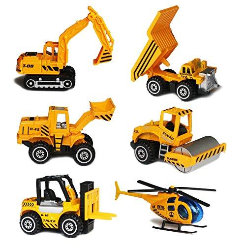 Sanlebi Fahrzeugset Mini Baufahrzeuge Autos Modelle Geschenkset für Kinder Jungen,6-er Pack