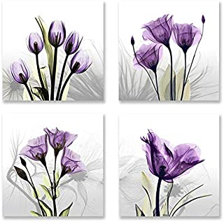4 Panles Flower Painting Canvas Wall Art Elegant Purple Tulip Abstract Picture Artwork for Modern Home Decoration
