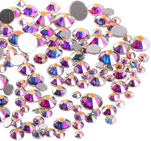 Jollin - Strass in vetro con retro piatto, diamanti sintetici per nail art, 6 misure da ss4 (1,6 mm) a ss12 (3 mm), 3456 pezzi, Crystal AB, C1