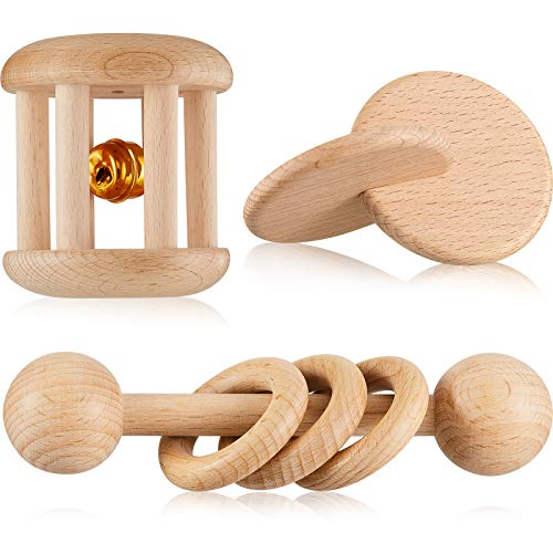 3 Pieces Wooden Rattle Wood Bells Rattles Beech Wooden Interlocking Discs Montessori Toys Wood Teether Toys Nice Present for Boys and Girls Birthday Party Favor