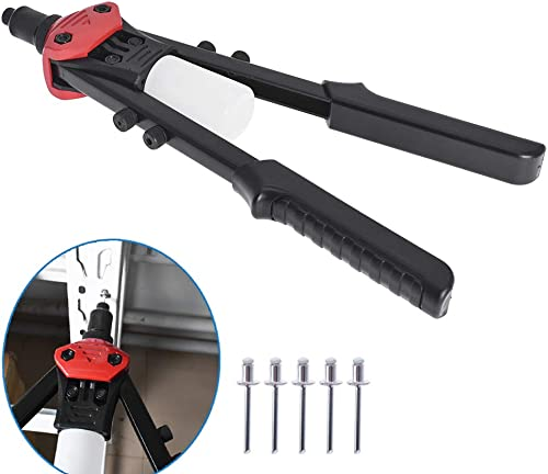 """popular 13"""" Rivet Gun Heavy Duty Hand Riveter with 5 Replaceable Nosepieces Excellent Leverage Design online Collecting Bottle Included for discount Instrument Automotive Elevator Aviation Railway and DIY Home Projects outlet sale"""