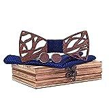 ReedG Corbata de Moño Hombres Elegantes Huecos de Madera Hecha a Mano de la Pajarita con el Bolsillo a Juego y Las gemelas fijadas en la Caja de Regalo Ajustable (Color : T203-c1, Tamaño : One Size)