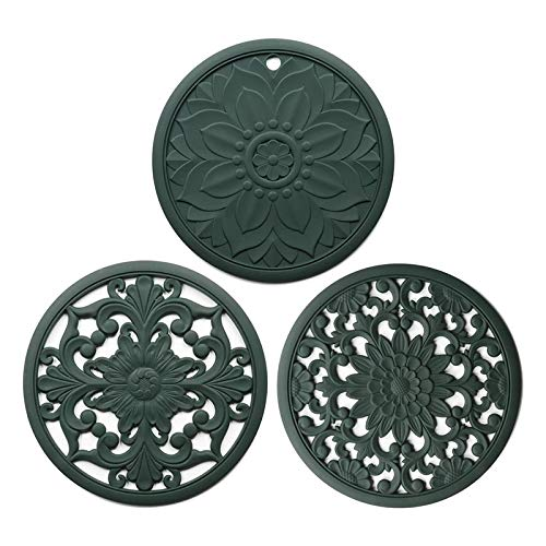 Senmubery Silicone Mat Set with 3 Pattern Designs, Hot Pot Holder Hot Pads for Table & Countertop, Heat Resistant Trivets D