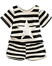 LittleSpring夏 キッズ 女の子 半袖 セットアップ ボーダー柄 肩出し Tシャツ&ショートパンツ リラックス ホームウェア 部屋着 運動着