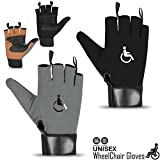 Rebo Wheelchair Gloves Mobility Fingerless Long Thumb Leather Palm Gloves (Grey, Small)