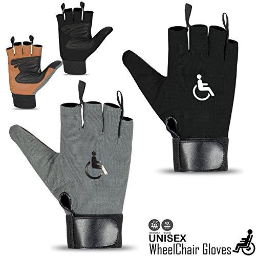Rebo Rollstuhl-Handschuhe, Fingerlos, langer Daumen, Leder, Handflächenhandschuhe (grau, 2XL)