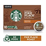 Starbucks Medium Roast K-Cup Coffee Pods — Pike Place Roast for Keurig Brewers — 6 boxes (60 pods total)