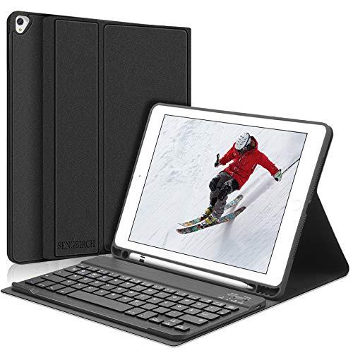 SENGBIRCH Tastatur Hülle für iPad 10.2 2019, Automatisch Aufwachen/Schlaf 10.2 Cover mit Bluetooth Tastatur (QWERTZ), Kompatibel mit iPad 10.2 / iPad 10.5 / iPad Air 3 - Schwarz
