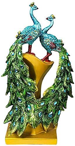 Estatuas de pavo real de resina coleccionables para la oficina en casa Decoraciones para balcones Regalos de boda de inauguración para la decoración del hogar Esculturas de arte para interiores de p
